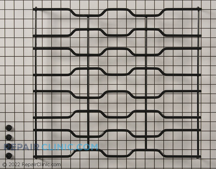 Black burner grate with 4 bushings<br>If part does not fit like original, new maintop may need to be ordered. Refer to your model for maintop part number.