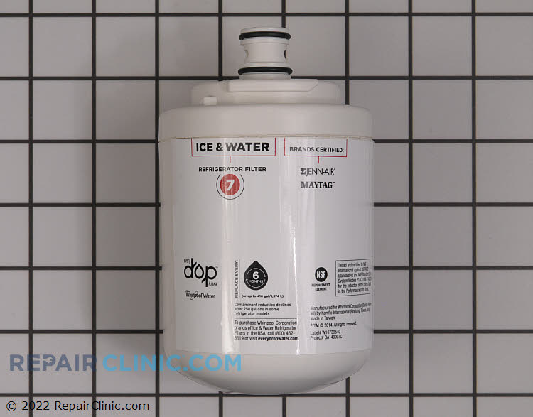 EveryDrop Ice & Water Refrigerator Filter 7, single port filter,  Reduces 7 contaminants, including pesticides, waterborne parasites, lead, asbestos and industrial chemicals. NSF certified.