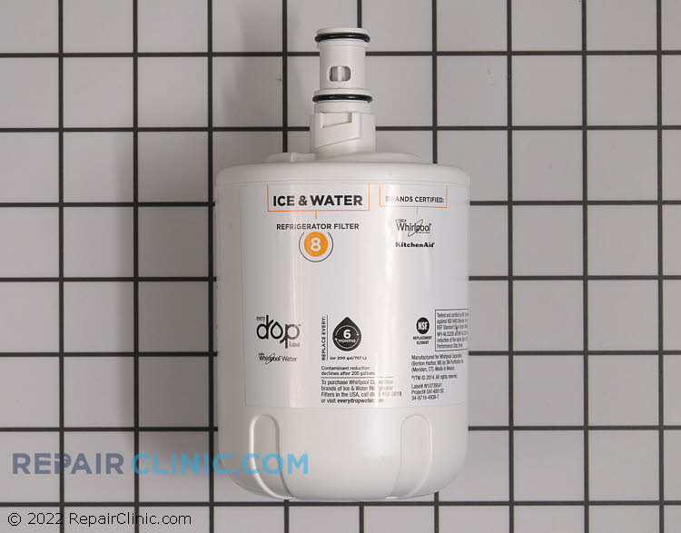 EveryDrop Ice & Water Refrigerator Filter 8, single port filter. Reduces 4 contaminants, including waterborne parasites such as cysts and heavy metals such as lead. NSF Certified.