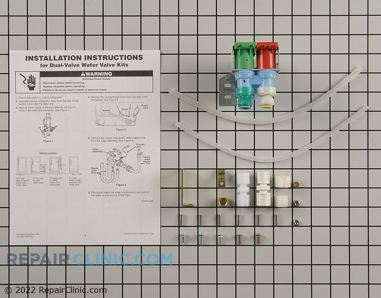 Refrigerator water inlet valve kit. This valve controls the flow of water to the icemaker and water dispenser.