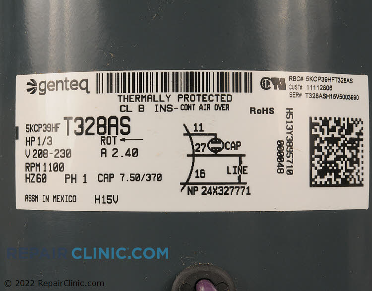 Condenser Fan Motor 11112806S Alternate Product View