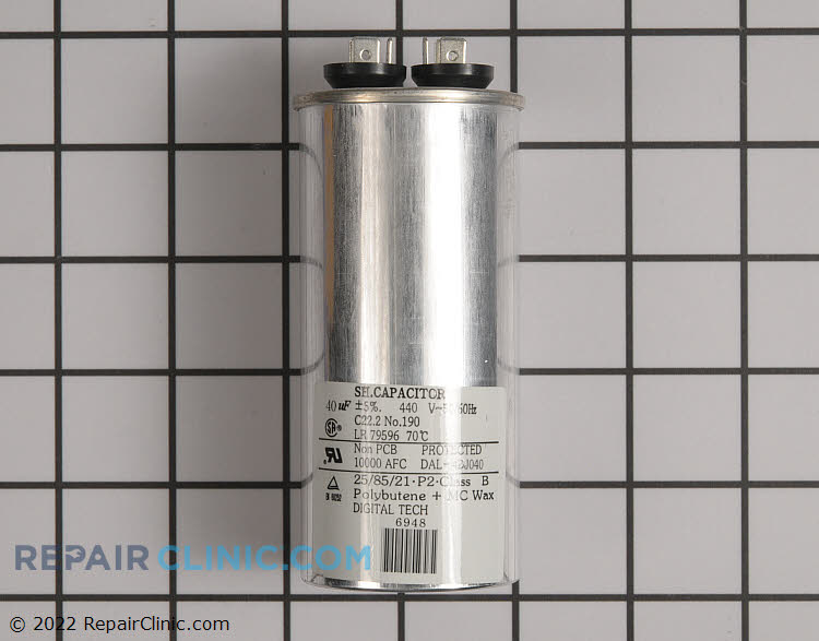 Single run capacitor, round, 40 MFD, 440 volts,