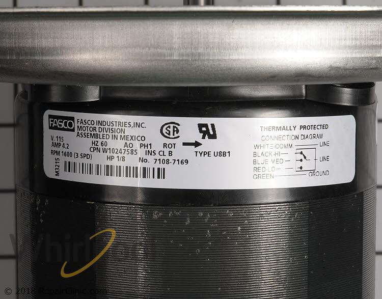 Vent Fan Motor WPW10247585 Alternate Product View