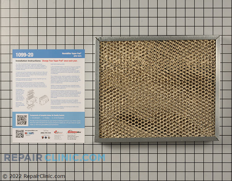 """Evaporator pad for General humidifier model 1099. 1-3/8"""" x 14-1/2"""" x 12"""""""