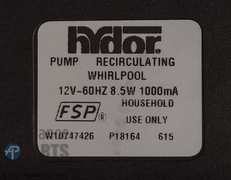 Circulation Pump W10908287 Alternate Product View