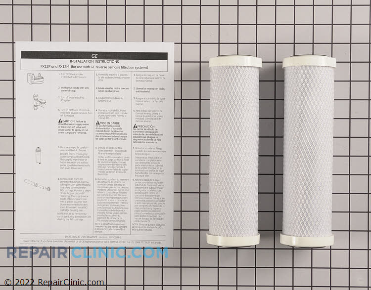 Replacement filter set for GE Reverse Osmosis Systems. Filter reduces contaminants including lead and mercury. Replace every 6 months or 900 gallons for best performances. Pack of 2 includes one pre-filter and one post filter.