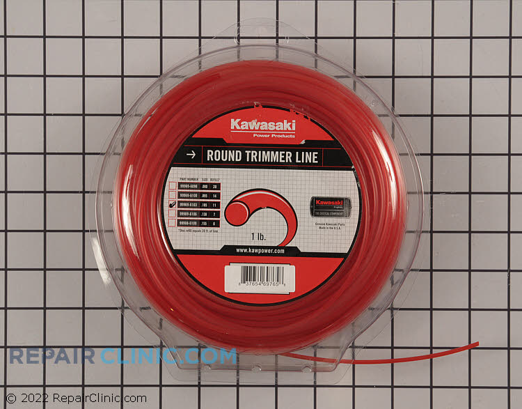 Genuine Kawasaki .105 Nylon Round String Trimmer Line.<br><br>Application: String Trimmer<br>Diameter: .105<br>Quanitity: Approx. 200 Feet<br>Line Shape: Round<br>Compatible with all String Trimmers using .105 diameter line.