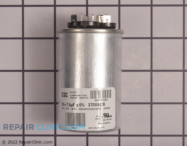 Dual run capacitor, round, 370 volts, 30/7.5 MFD