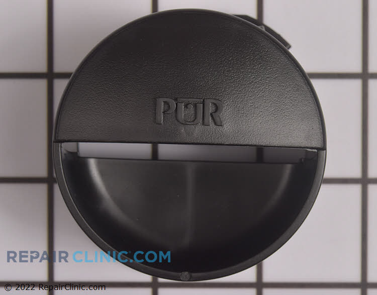 Refrigerator water filter cap in black.
