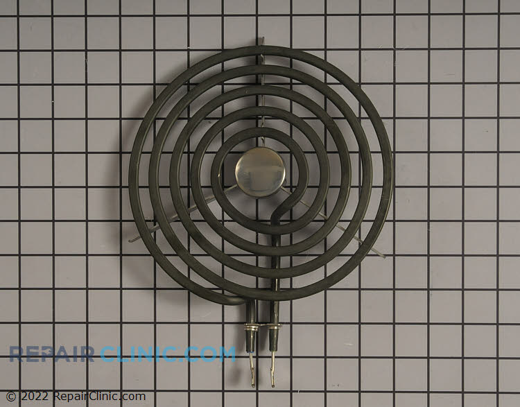 "Stove top coil heating element. The element is 8"" in diameter. If the surface element won't heat, either the surface element or the surface element switch may be defective. To determine if the surface element is defective, use a multimeter to test it for continuity."