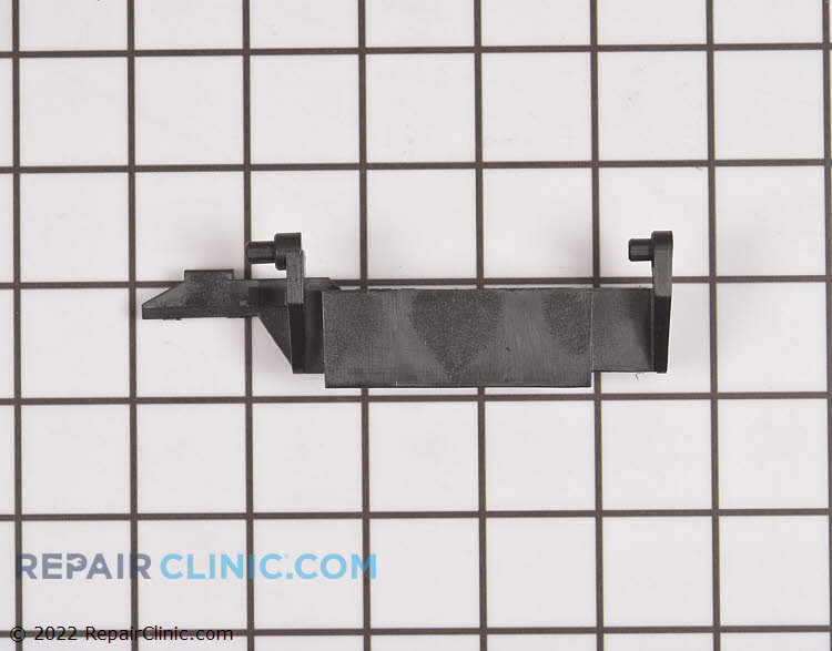 Microwave door lever. The original lever may have been white, but the part is now only made in black.