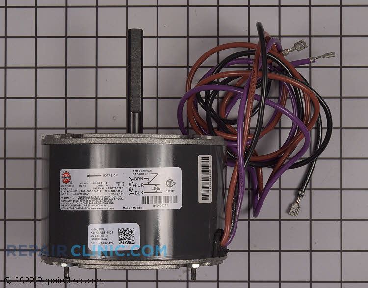 "1/6 HP 208-230Volts 60Hertz 1Amps 1075RPM Single Speed Closed Enclosure Single Phase CCW Rotation 2.5"" Shaft"