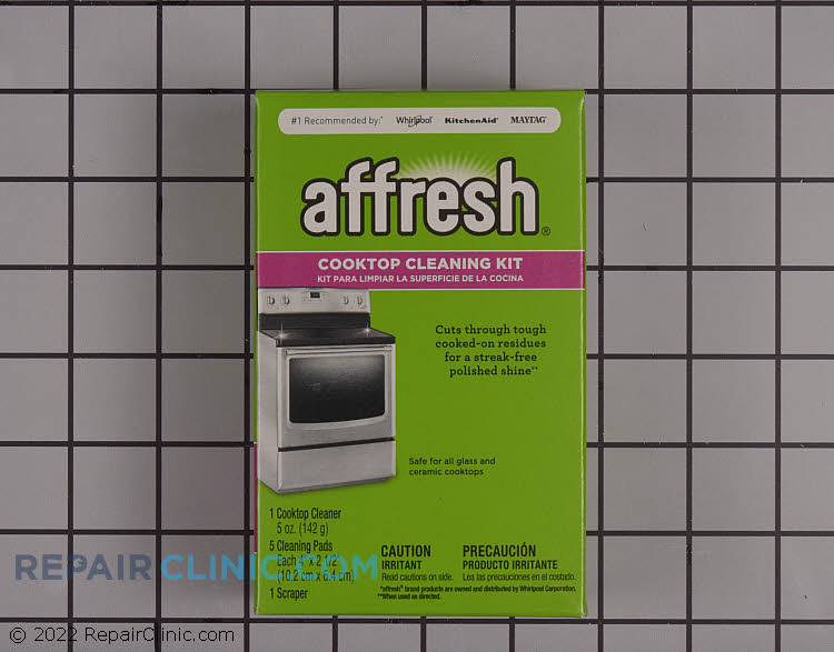 Affresh® Cooktop Cleaner Kit. Specially formulated to cut through tough, cooked-on residues that can linger on your cooktop. Non-abrasive cleaner is safe for all glass and ceramic cooktops. Contains Cooktop Cleaner, Razor Blade  Scraper and 5 Scrub Pads.