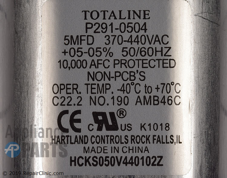 Run Capacitor P291-0504 Alternate Product View