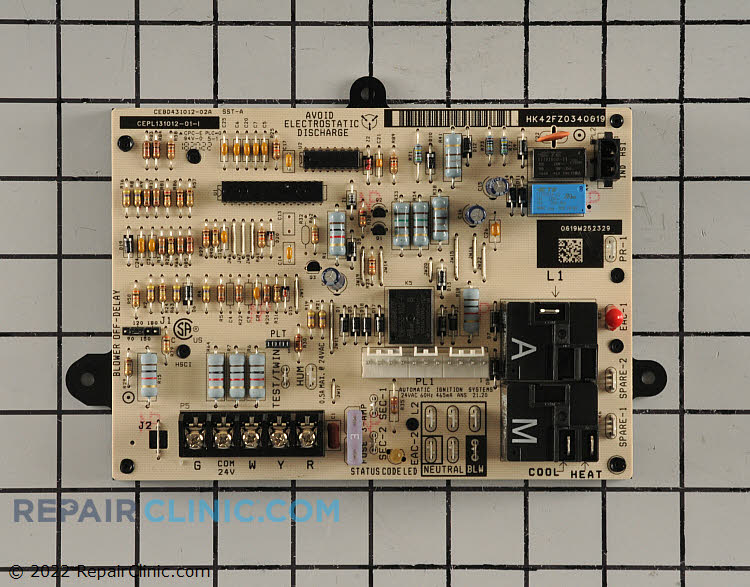 Carrier furnace circuit board. This circuit board regulates the supply of power to the furnace components.