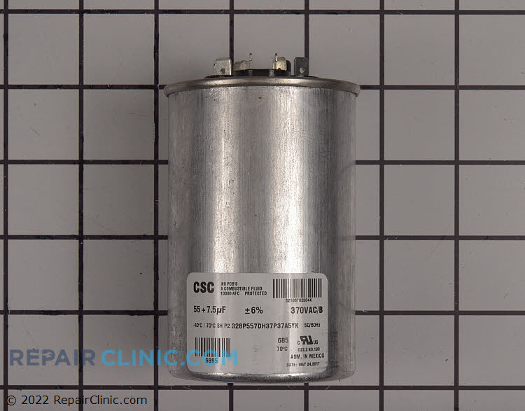 Dual run capacitor, round, 370 volts, 55/7.5 MFD