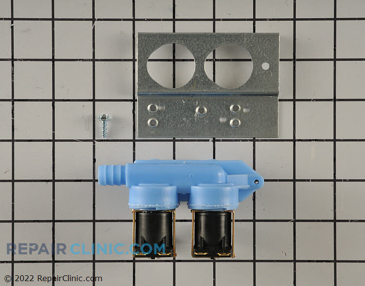 Washing machine water inlet valve kit with bracket. A long or slow fill cycle is often due to a restricted water valve. The valve should never be disassembled and cleaned, only replaced.