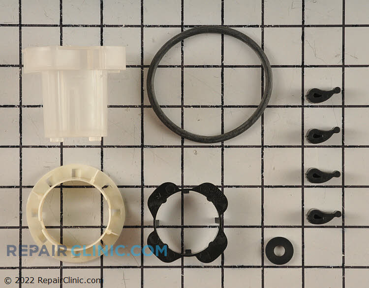 Washing machine agitator repair kit with a medium length cam (there are other kits available for different models). This kit should be used when the top part of the agitator is not moving properly but the bottom part is.