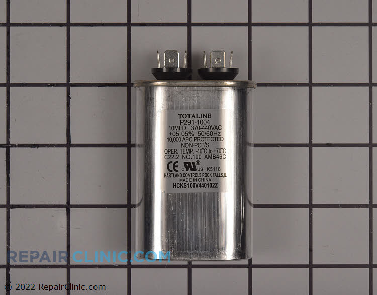 Single run capacitor, oval, 370 volts, 10 microfarads