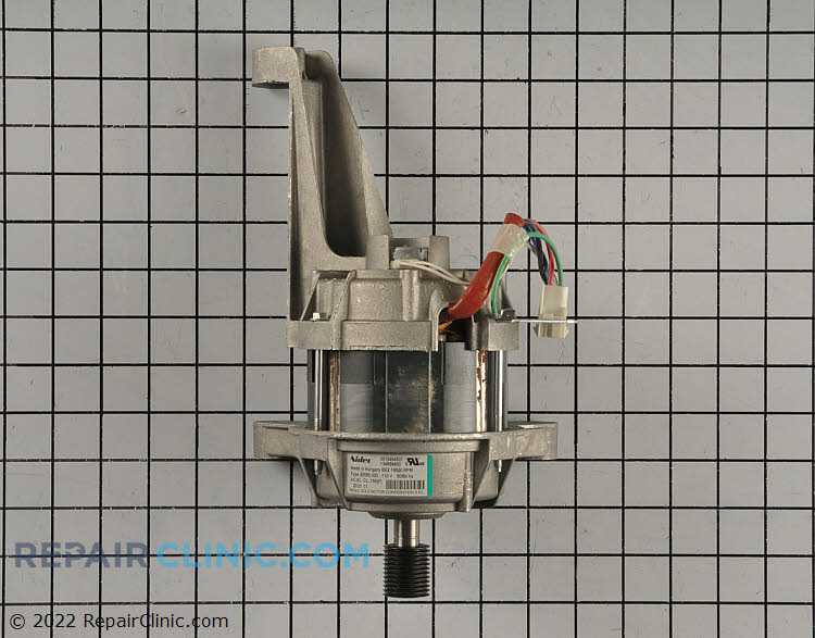 Front-load washer drive motor. This part has been updated by the manufacturer and now features a single leg for mounting. (NOTE: The drive motor is often incorrectly diagnosed.)