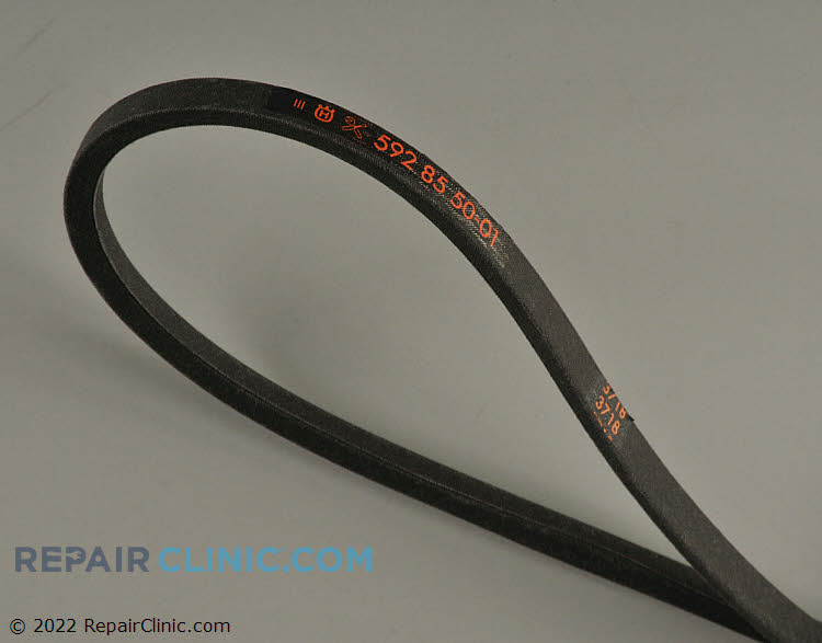 """Lawn mower deck and drive belt. This V belt has a width: 1/2 """" and a length: 100 1/4 """"."""