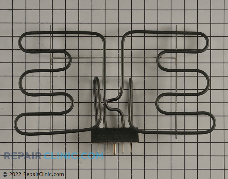 Grill element. 4 flat terminals with shunt (jumper) between two terminals. 1 round ground terminal. *Shunt removed for some models, check original element.